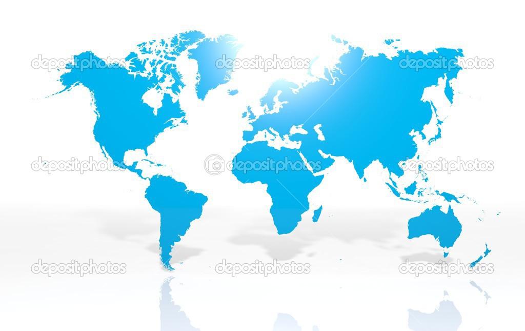 在白色背景上的地球世界地图