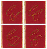 Collection of textile monograms design on a ribbon. CA, CC, CD, CE — Stock Photo