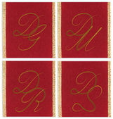 Collection of textile monograms design on a ribbon. DG, DM, DR, DS — Stock Photo
