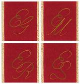 Collection of textile monograms design on a ribbon. EG, EM, ES, ER — Stock Photo