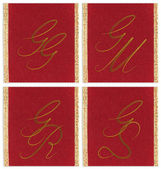 Collection of textile monograms design on a ribbon. GG, GM, GS, GR — Stock Photo