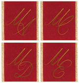 Collection of textile monograms design on a ribbon. MA, MC, MD, ME — Stock Photo