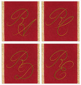Collection of textile monograms design on a ribbon. RA, RC, RD, RE — Stock Photo