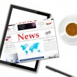 Digital news on tablet computer — Stock Photo