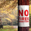 Fire danger sign on the tree — Stock Photo