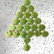 Christmas tree made from bottle caps — Stock Photo