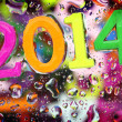 2014 year on abstract colorful drops background — Stock Photo