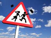 School closed concept, Warning school sign — Stock Photo
