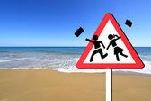 Golden sandy beach and Mediterranean sea — Stock Photo