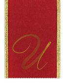 Włókienniczych monogram litery u na wstążce — Zdjęcie stockowe