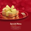 Festive table setting with gift box on a plate — Stock Photo