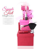 Cajas de regalo y cosméticos de mujer — Foto de Stock