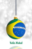 Merry Christmas from Brazil. Christmas ball with flag — Stock fotografie
