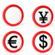 Collection of money symbols traffic signs isolated on white background — Stock Photo