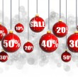 Red Christmas balls with numbers and percent symbols for Christmas sale — Stock Photo #31458965