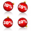 Red Christmas balls with numbers and percent symbols for Christmas sale — Stock Photo