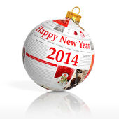 Newspaper happy new year 2014 ball on white background — Stock fotografie
