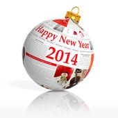 Newspaper happy new year 2014 ball on white background — Stock Photo