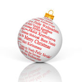 Merry Christmas in different languages forming a Christmas Ball — Stock Photo