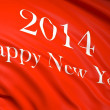 Stock Photo: Happy new year 2014 written on red waving flag