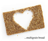 Multigrain slice of bread with copy space in shape of heart, isolated on white — Stock Photo