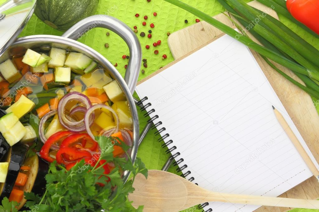 Livre de recette vierge avec la soupe aux l gume - Livre de cuisine vierge ...