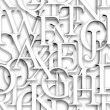 Seamless pattern. Repeating texture with white 3d letters — Stockfoto
