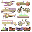 Fun set of 3d wooden transportation toys — Stock Photo