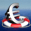 Life belt with euro sign in open sea — Stock Photo