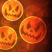 Halloween background with laughing pumpkins bokeh lights — Stock Photo