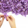 Womans hands separates saffron threads from the rest flower — Stock Photo