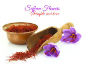 Dried saffron spice and Saffron flower isolated on white — Stock Photo