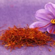 Dried saffron spice and Saffron flower — Stock Photo