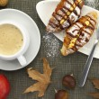 Breakfast with croissants and coffee — Stock Photo