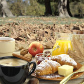 Breakfast with croissants with autumn background — Stock Photo