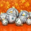 Christmas balls with money texture — Stock Photo #35092811