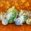 Christmas balls with money texture — Stock Photo #35092815