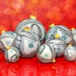 Christmas balls with money texture — Stock Photo