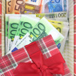 Present box with money inside — Stock Photo