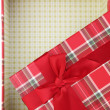 Top of empty present box with red ribbon — Stock Photo