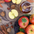 Autumn background basket with apples — Stock Photo