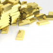 Big pile of gold bars isolated on white — Stock Photo