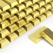 Big stack of gold bars isolated on white — Stock Photo #35774707