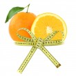 Orange with measuring tape, diet concept — Stock Photo #35774741