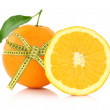 Orange with measuring tape, diet concept — Stock Photo #35774743
