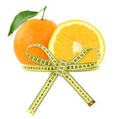 Orange with measuring tape, diet concept — Stock Photo