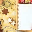 Making star cookies, recipe for Christmas — Stock Photo