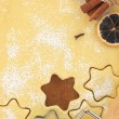 Making star cookies with cookie cutter — Stock Photo