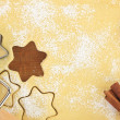 Stock Photo: Making star cookies with cookie cutter