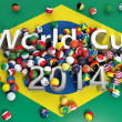 Soccer balls with various flags and World Cup 2014 3D text on Brazilian flag — Stock Photo